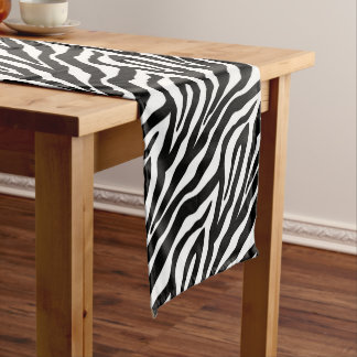Black and White Zebra Stripes Animal Print Short Table Runner