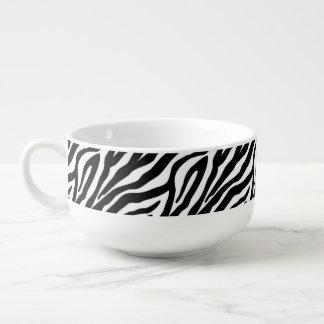 Black and White Zebra Stripes Animal Print Soup Mug