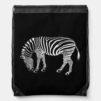 Black and White Zebra Stripes Art Drawstring Bag