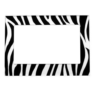 Black and White Zebra Stripes Frame Magnet