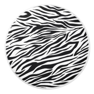Black and White Zebra Stripes Pattern Ceramic Knob