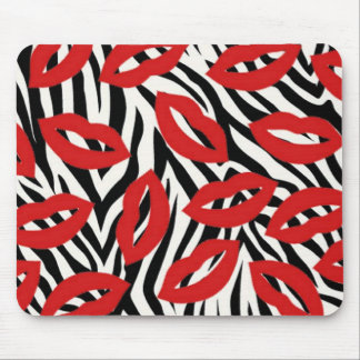 Black and White Zebra Stripes Red Lips Mouse Pad