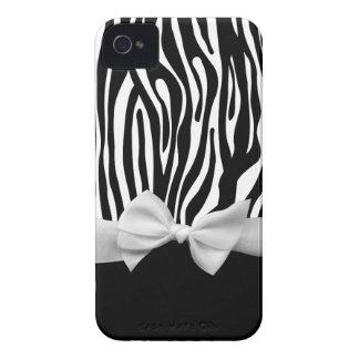 Black and white Zebra stripes & ribbon graphic Case-Mate iPhone 4 Case