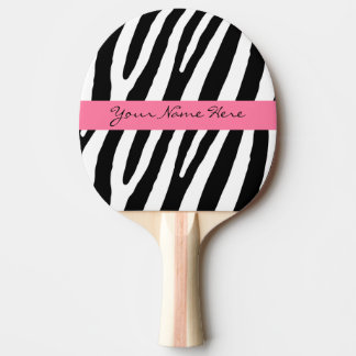 Black and White Zebra Stripes with Hot Pink Banner Ping-Pong Paddle