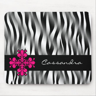 Black and white zebra stripes with hot pink decor mouse pad