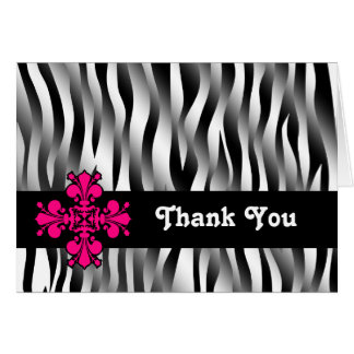 Black and white zebra stripes with hot pink decor note card