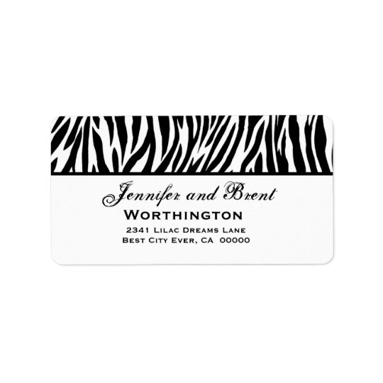 Black and White Zebra Wedding Address