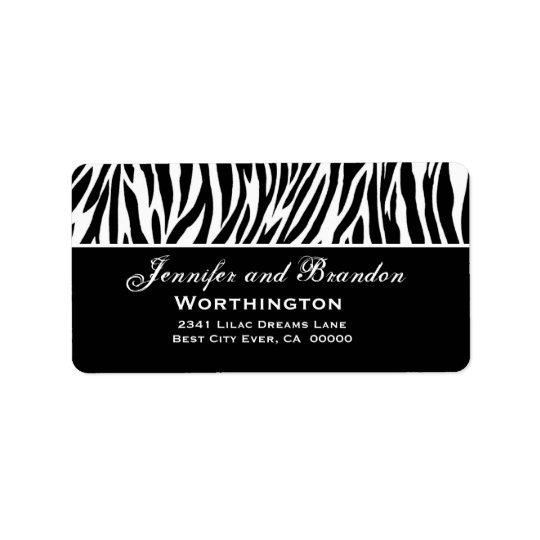 Black and White Zebra Wedding Address