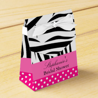 Black and White Zebra with Hot Pink Bridal Shower Wedding Favor Box