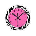 Black and White Zebra with Hot Pink Round Clock