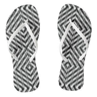 Black and White Zig Zag Flip Flops