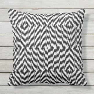 Black and White Zig Zag Outdoor Pillow