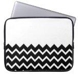 Black and White Zig Zag Pattern. Part Plain. Laptop Sleeve