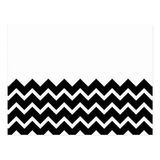 Black and White Zig Zag Pattern. Part Plain. Postcard
