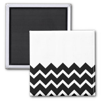 Black and White Zig Zag Pattern. Part Plain. Square Magnet