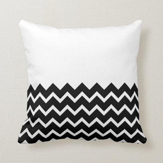 Black and White Zig Zag Pattern. Part Plain. Throw Pillow