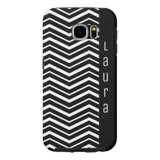 Black and White Zig Zag Pattern with Name Samsung Galaxy S6 Cases