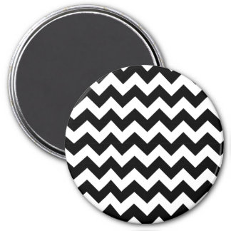 Black and White Zigzag Chevron Pattern 3 Inch Round Magnet