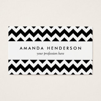 Black and White Zigzag Chevron Pattern Business Card
