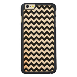 Black and White Zigzag Chevron Pattern Carved® Maple iPhone 6 Plus Case