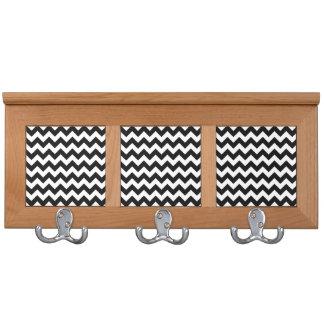 Black and White Zigzag Chevron Pattern Coat Rack