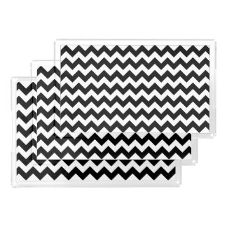 Black and White Zigzag Chevron Pattern Perfume Tray