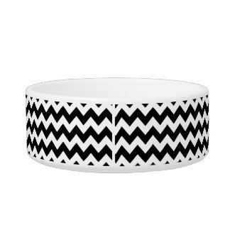 Black and White Zigzag Chevron Pattern Pet Water Bowl