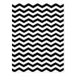Black And White Zigzag Chevron Pattern Postcard