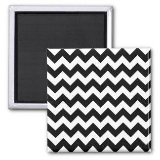 Black and White Zigzag Chevron Pattern Square Magnet