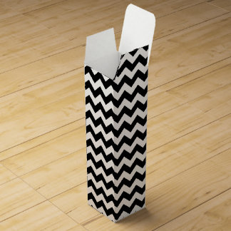 Black and White Zigzag Chevron Pattern Wine Boxes