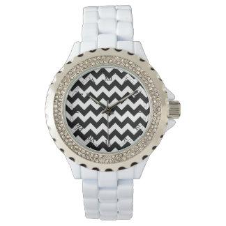 Black and White Zigzag Chevron Pattern Wrist Watches
