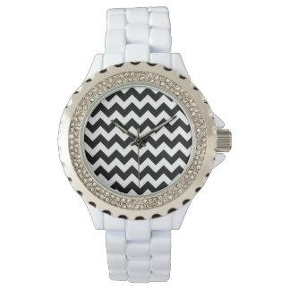 Black and White Zigzag Chevron Pattern Wristwatch