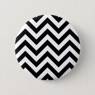 Black and white  Zigzag Chevrons Pattern 2 Inch Round Button