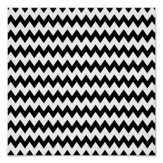 Black and White Zigzag Pattern Poster