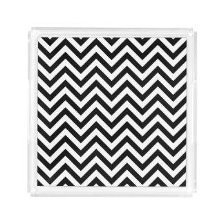 Black and White Zigzag Stripes Chevron Pattern Acrylic Tray