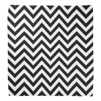 Black and White Zigzag Stripes Chevron Pattern Bandana