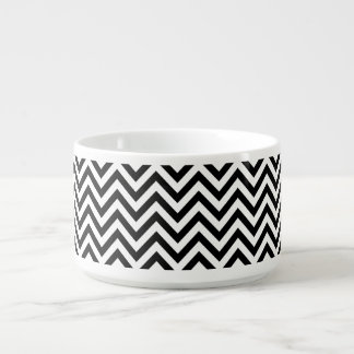 Black and White Zigzag Stripes Chevron Pattern Bowl