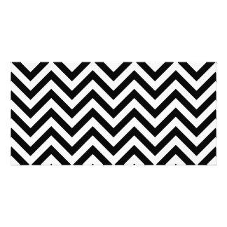 Black and White Zigzag Stripes Chevron Pattern Card