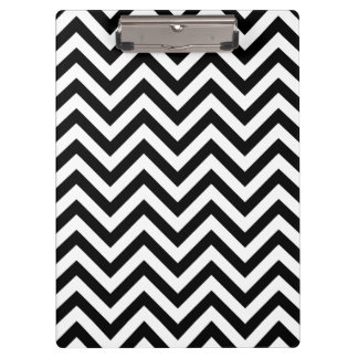 Black and White Zigzag Stripes Chevron Pattern Clipboard