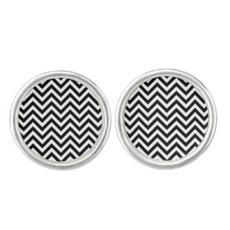 Black and White Zigzag Stripes Chevron Pattern Cuff Links