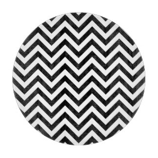 Black and White Zigzag Stripes Chevron Pattern Cutting Board