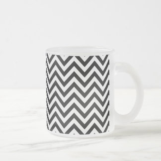 Black and White Zigzag Stripes Chevron Pattern Frosted Glass Coffee Mug