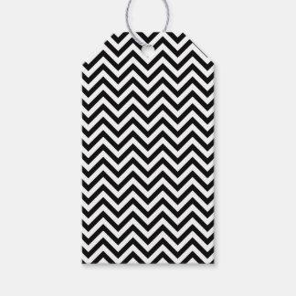 Black and White Zigzag Stripes Chevron Pattern Gift Tags