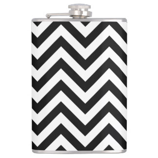 Black and White Zigzag Stripes Chevron Pattern Hip Flask