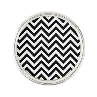Black and White Zigzag Stripes Chevron Pattern Lapel Pin