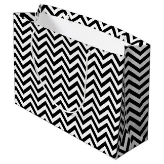 Black and White Zigzag Stripes Chevron Pattern Large Gift Bag