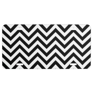 Black and White Zigzag Stripes Chevron Pattern License Plate