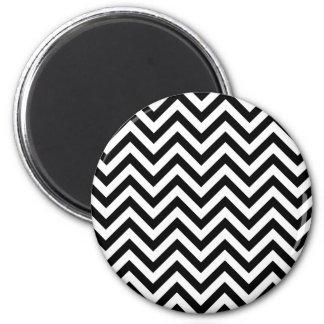 Black and White Zigzag Stripes Chevron Pattern Magnet