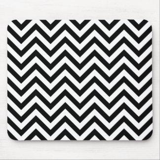 Black and White Zigzag Stripes Chevron Pattern Mouse Pad