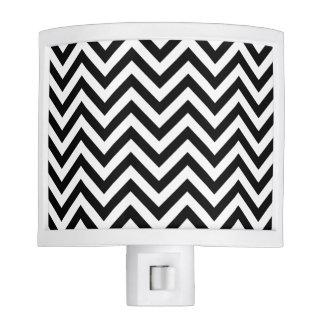 Black and White Zigzag Stripes Chevron Pattern Night Lights